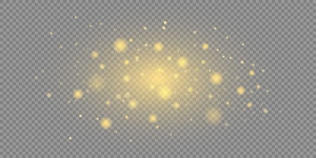 Scintille gialle e stelle dorate brillano di luce speciale.