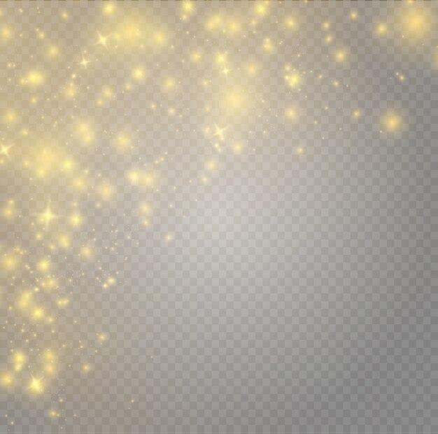 Scintille gialle e stelle dorate scintillano con un effetto di luce speciale. scintillanti particelle di polvere magica.