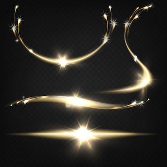 Scintille luccicanti o particelle in fiamme che volano fuori da una luce intensa scoppiano con tracce di luce