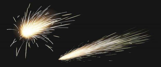 Scintille realistiche di lama metallica saldata, fuochi d'artificio