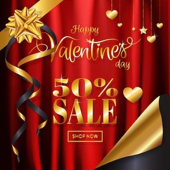 Scintillio dell'oro di lusso del fondo di vendita di san valentino sul tessuto rosso del raso