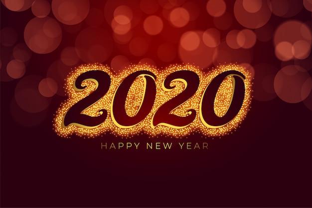 Scintillio di felice anno nuovo rosso e oro