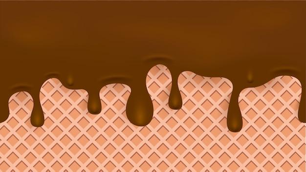 Sciogliere il liquido di cioccolato sulla trama waffle