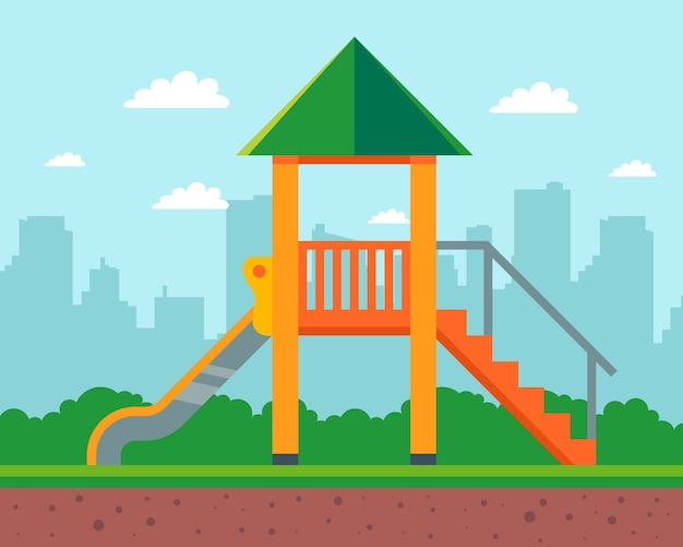 Scivolo in legno per bambini nel cortile di casa. parco giochi nella scuola materna. illustrazione.