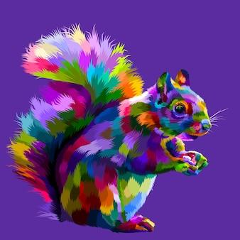 Scoiattolo colorato su illustrazione vettoriale pop art
