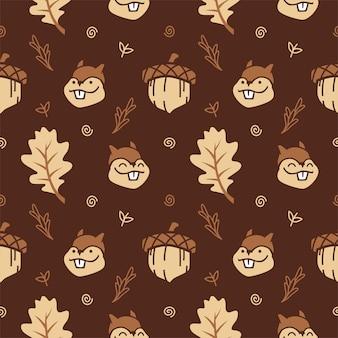 Scoiattolo cute cartoon con noci e foglia di autunno senza soluzione di sfondo vettoriale sfondo