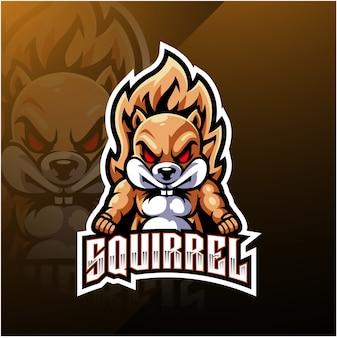 Scoiattolo esport logo design della mascotte