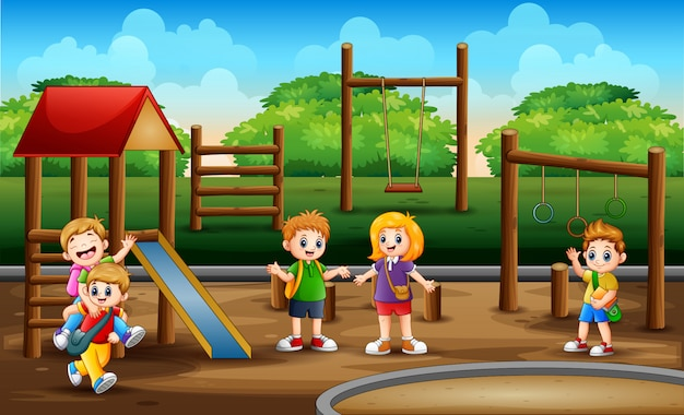 Scolari nella scena del parco giochi