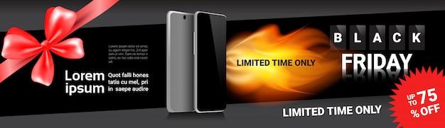 Sconti orizzontali dell'insegna del modello di vendita di black friday sugli smart phone moderni