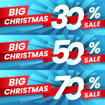 Sconti sulle vendite di pubblicità natalizia, offerte speciali per le vacanze invernali e shopping migliori offerte banner set