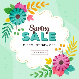 Sconto di vendita di primavera banner design piatto