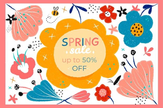 Sconto di vendita di primavera disegnata a mano
