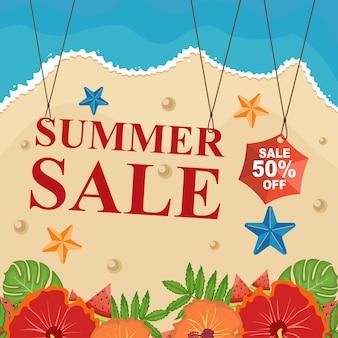 Sconto estate spiaggia vendita banner con fiore floreale