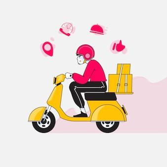 Scooter guida uomo di consegna