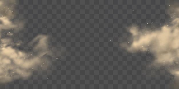 Scoppiando dal vettore realistico delle nuvole di polvere dei lati