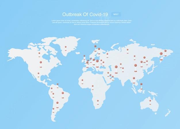 Scoppio di coronavirus covid-19 sulla mappa. concetto di protezione covid-19.