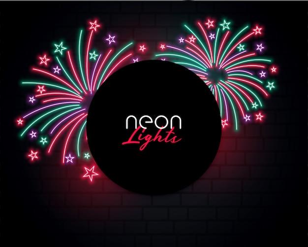 Scoppio di fuochi d'artificio sfondo in stile neon design