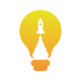 Scoppio di razzi all'interno delle idee di light bulb