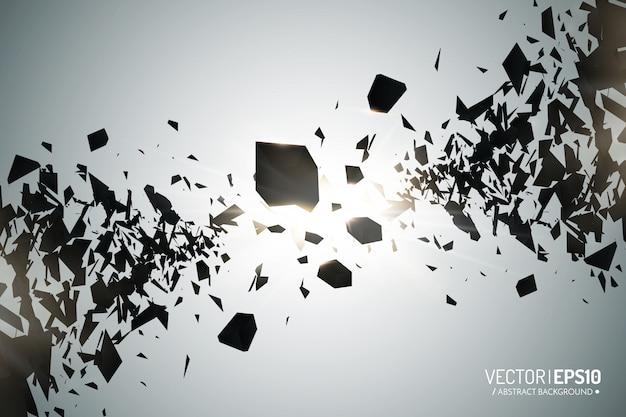 Scoppio potente. particelle nere su sfondo scuro. nuvola di esplosione di pezzi neri con luci a incandescenza. astratto