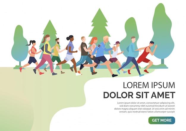 Scorri la pagina con le persone che fanno jogging insieme nel parco