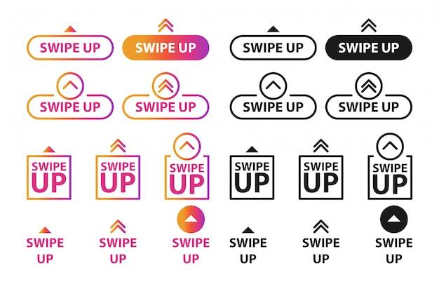 Scorri verso l'alto, set di pulsanti per i social media.