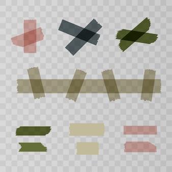 Scotch, pezzi di nastro adesivo isolati su trasparente. illustrazione vettoriale per il tuo web design