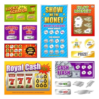 Scratch set di carte della lotteria