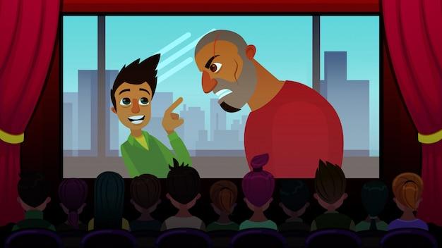 Screening di film d'avventura per adolescenti cartoon flat.