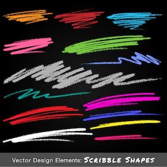 Scribble sbavature colorate disegnate a mano a matita