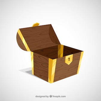 Scrigno del tesoro antico con design piatto
