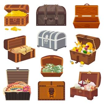 Scrigno del tesoro con ricchezza di denaro d'oro o bauli in legno pirata con monete d'oro e gioielli antichi illustrazione isolato su sfondo bianco