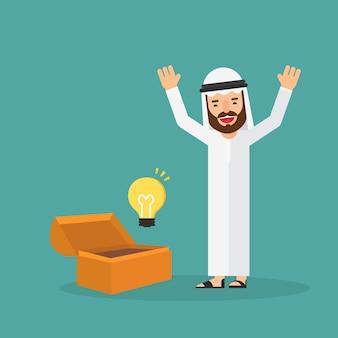 Scrigno del tesoro di apertura dell'uomo d'affari arabo