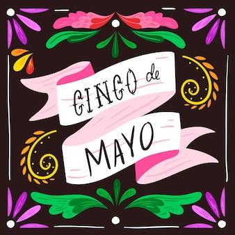 Scritta cinco de mayo con ornamenti floreali
