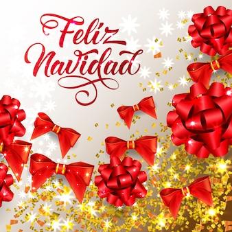 Scritta feliz navidad con brillanti coriandoli e fiocchi di nastro