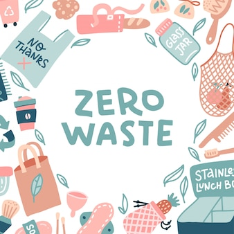 Scritta zero rifiuti in una cornice rotonda. articoli per la casa sostenibili in stile doodle. fama di oggetti eco-compatibili attorno al testo. ricicla e niente sacchetti di plastica e bottiglie, cucchiaio, scatole per il pranzo. vettore piatto