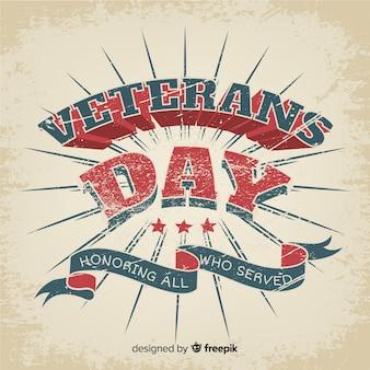 Scritte d'epoca giorno dei veterani e nastro