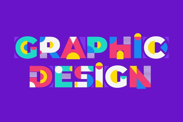 Scritte di design grafico in stile geometrico