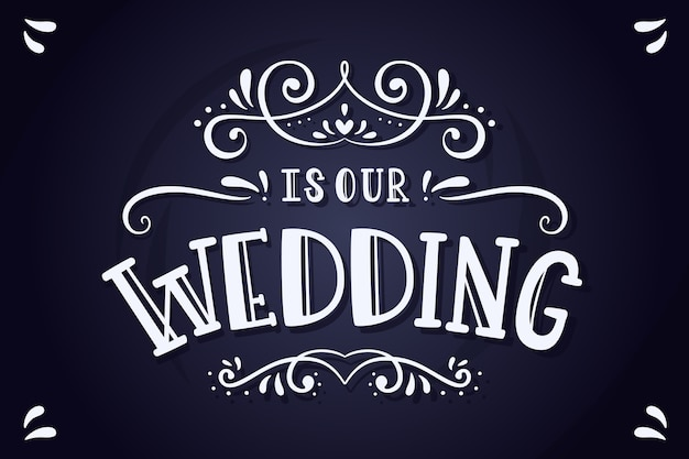 Scritte di matrimonio elegante sulla lavagna