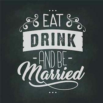 Scritte di nozze sulla lavagna
