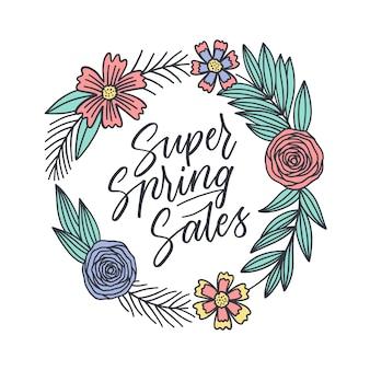 Scritte di vendita super primavera in cornice colorata