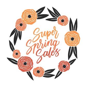 Scritte di vendita super primavera in cornice floreale colorata