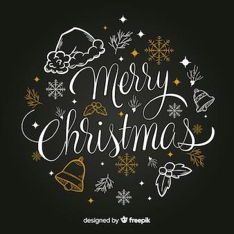 Scritte in merry christmas con ornamenti