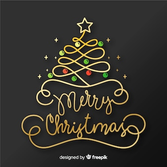Scritte in merry christmas con palline e stelle