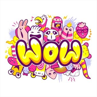 Scritte wow con mostri dei cartoni animati