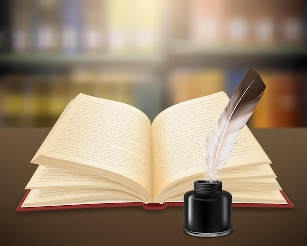 Scritto a mano opere letterarie su pagine di libro aperto con piume e calamaio realistico