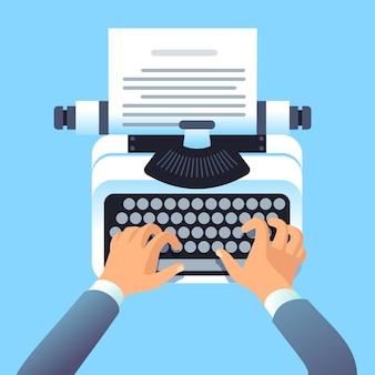Scrittore autore scrivere articolo con macchina da scrivere. equipaggia la storia tipo mani per libro di carta o blog. concetto di blogging e copywriting