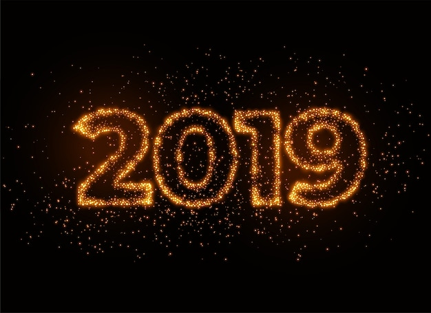 Scrittore del 2019 in scintillanti effetti particellari