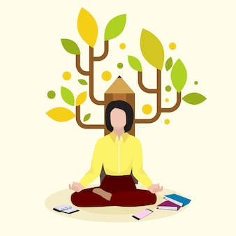 Scrittore femminile creativo, autore che si siede sul fondo della matita e libro, volume, illustrazione. personaggio donna romanziere meditazione.