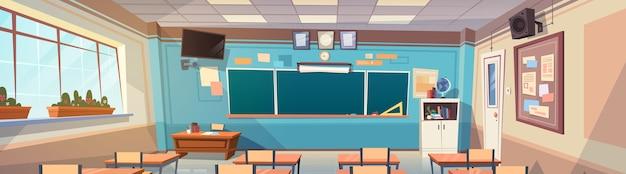 Scrittorio del bordo interno della stanza di classe della scuola vuota