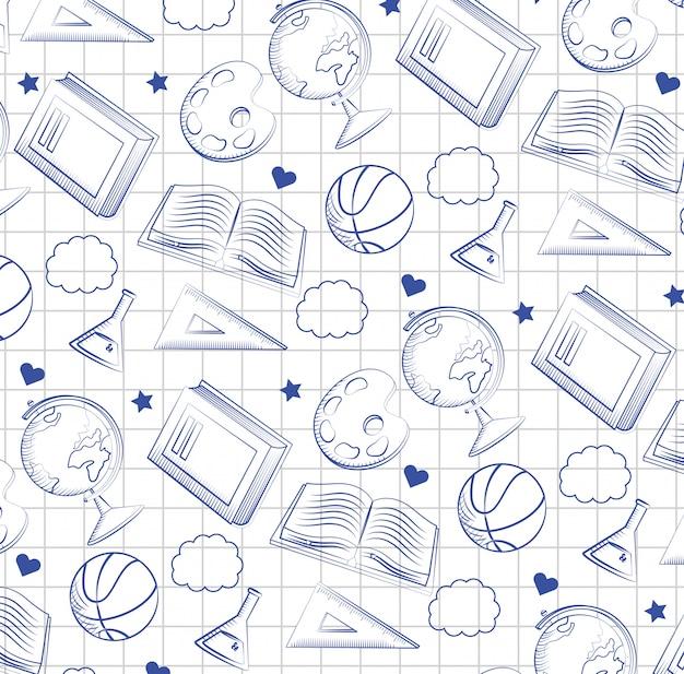Scrittorio globale della mappa con flacone erlenmeyer e tabellone
